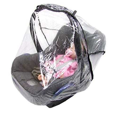 BAMBINIWELTuniversal Regenschutz für Babyschale (z.B. Maxi-Cosi/Cybex/Römer), gute Luftzirkulation, verschließbare Eingriffsöffnung für Tragegriff, PVC-frei, Regenhaube, Regenschutz für Autositze