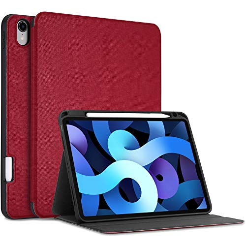 ProCase Funda Folio para Nuevo iPad Air 4 10,9' 2020 Modelo A2324 A2072 A2316 A2325, Tapa Inteligente Carcasa Ultradelgada para iPad Air 4.ª Generación 10.9 Pulgadas 2020 Versión –Rojo
