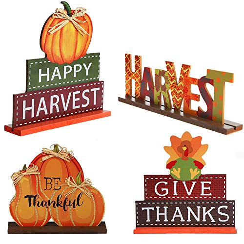 MorTime 4 Pack Thanksgiving Themed Pumpkin Table Decors, Wood Harvest Glittery Pumpkins for Home Office Thanksgiving Decorations