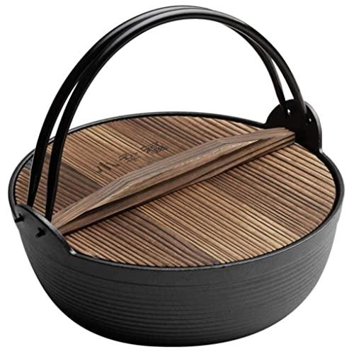 Pentola in ceramica Pentola tradizionale Sukiyaki, Casseruola in ghisa smaltata con coperchio in legno per cucinare in campeggio, 29 cm, A, 29 cm (11 pollici) (Colore : A, Dimensioni : 27 cm) 25 cm