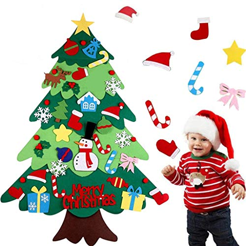 DIY Felt Christmas Tree with 32 PCS Ornaments for Kids Xmas Gifts Door Wall Hanging New Year Handmade Home Decorations (Multicolor, 38.6×27.6 in)