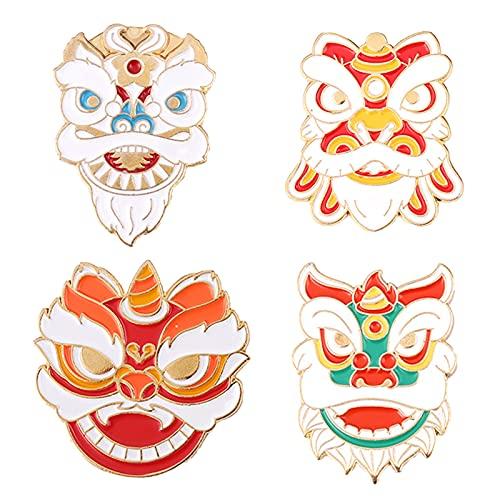 Canghai - Spilla smaltata, 4 pezzi, con testa di tigre, a forma di testa di tigre, per zaino, vestiti, cappelli, borse, giacche, ornamenti di Natale (4 pezzi)