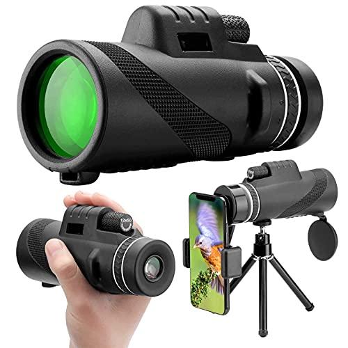 DKLE Telescopio Monocular, 12x50 HD Zoom Monoculares Telescopio Óptico Impermeable Visión, con Adaptador de Soporte para Smartphone y Trípode, para Camping