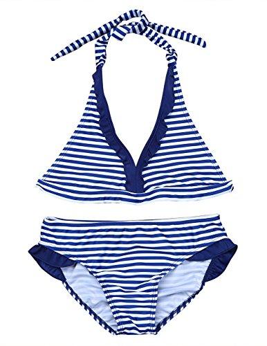 TiaoBug Mädchen Neckholder Bikini Set zum Schnüren Tankini Zweiteiler Bademode Badeanzug Streifen Vintage Triangel Bikini Oberteil Unterteil Bikinislip Schwimmanzug Marineblau Weiß gestreift 128