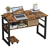 IRONCK Computer Desk 47', Writing Study Table, Multi-Function Drafting Drawing Table with Adjustable Tiltable Tabletop, Artist Craft Workstation for Painting with Storage Shelves
