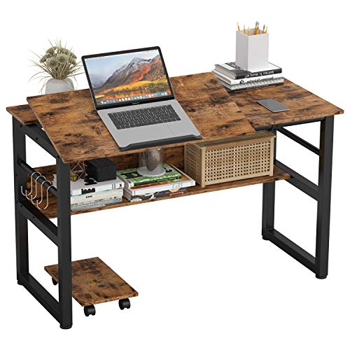 """IRONCK Computer Desk 47"""", Writing Study Table, Multi-Function Drafting Drawing Table with Adjustable Tiltable Tabletop, Artist Craft Workstation for Painting with Storage Shelves"""