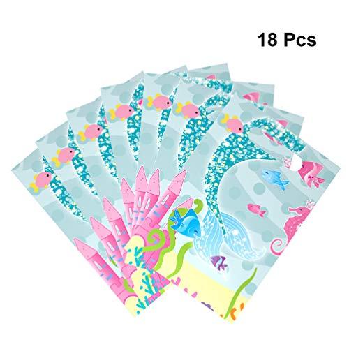 NUOBESTY Bolsas de Regalo Sirena, Bolsas a Favor de la Fiesta Bolsas con Cordones Bolsas de Papel con Brillo Bolsas de Papel con Dibujos Animados Patrón Bolsa de Caramelo de plástico (Sirena) 18pcs
