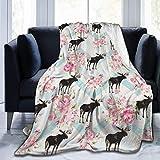 ujmki Manta de forro polar, cálida y súper suave, regalo de cuidado para niños y adultos, 152 cm x 127 cm, alce noruego