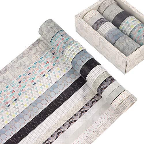 Juego de 12 rollos de cinta Washi Cinta Washi japonesa decorativa estética Cinta adhesiva decorativa con varios patrones Colección de pegatinas de papel de colores básicos para regalos plan (Geometry)