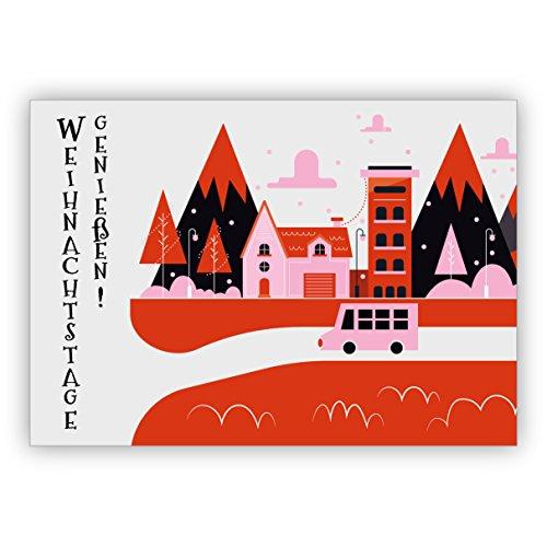 Kaart retro kerstvakantie: genieten van kerstdagen • voor de mooiste kerstgroeten, met enveloppen naar Nieuwjaar, oudejaarsavond voor familie, collega's, het team 16 Weihnachtskarten