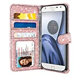 FINCIBO Case Compatible with Motorola Moto Z Play 2016 Droid XT1635, Sparkling Glitter Wallet Pouch Cover Case + Card Holder Kickstand for Moto Z Play (NOT FIT Z Force) - Rose Gold