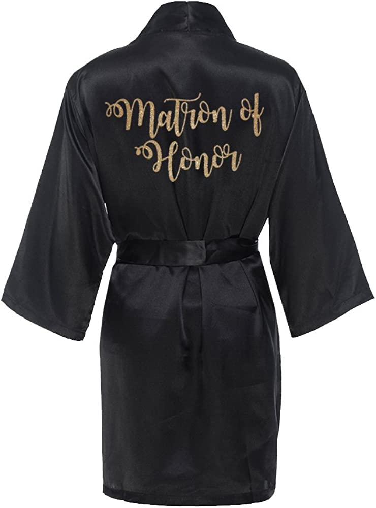 Matron of Honor Satin Kimono National products Robe with Brid Gold Glitter Inexpensive -