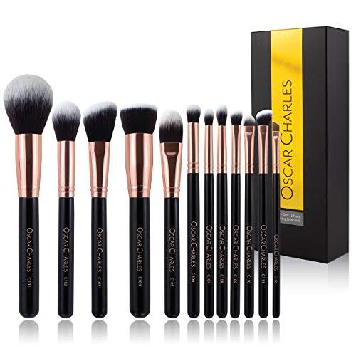Oscar Charles Juego de brochas de maquillaje profesional Luxe [12 piezas] [Oro rosa]