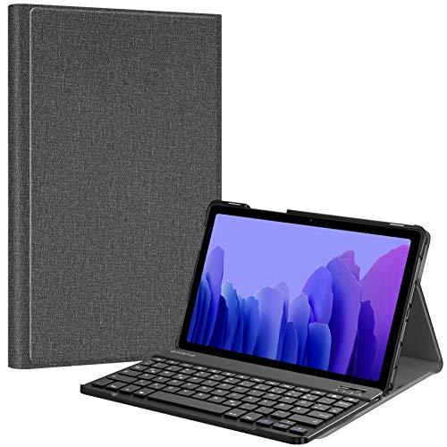 Fintie Tastatur Hülle für Samsung Galaxy Tab A7 10.4\'\' 2020 (SM-T500/T505/T507), Ultradünn leicht Schutzhülle mit magnetisch Abnehmbarer drahtloser Deutscher QWERTZ Bluetooth Tastatur, Dunkelgrau