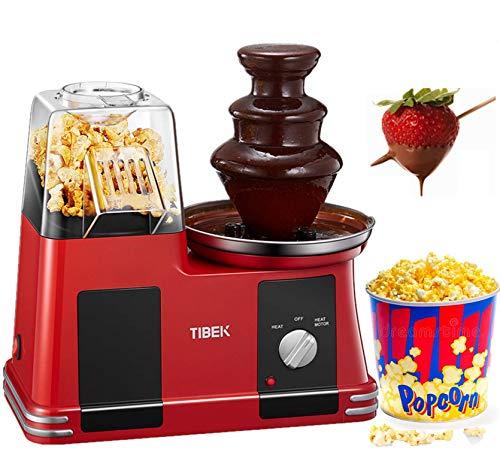TIBEK Macchina per Pop Corn 1200W Retro Macchina Pop Corn Compatta (con Fontana di Cioccolato) ad Aria Calda Senza Oli e Grassi, Misurino Rimovibile con Design a Bocca Larga