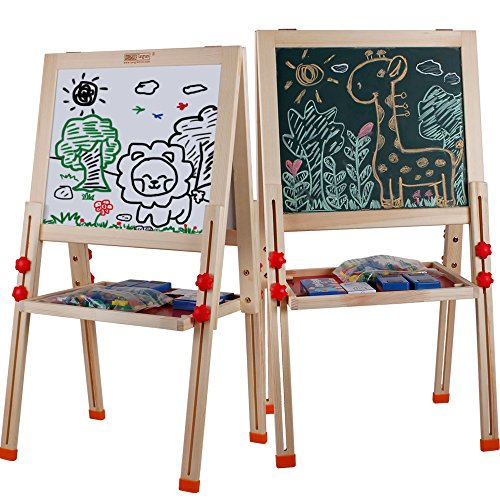 UMTOY Kids Easel Double-Sided Magnetic Whiteboard & Chalkboard Multiple-Use Easel with Bonus Magnetics, Numbers, Paint Cups Best Gift for Kids Boys Girls( Easel 018)