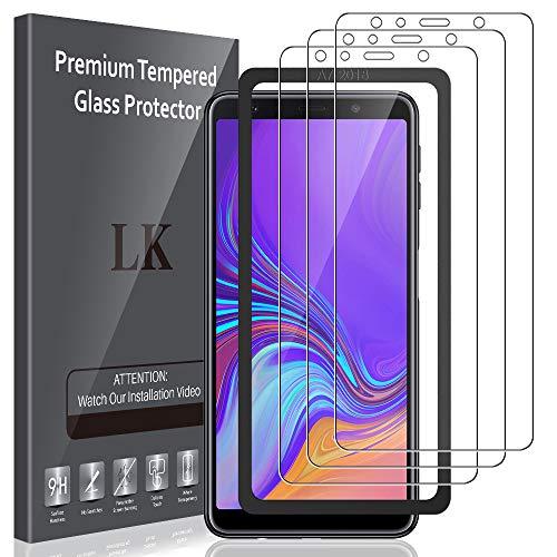LK 3 Stück Panzerglas für Samsung Galaxy A7 2018 ,9H Glas Schutzfolie kompatibel mit Samsung Galaxy A7 2018, Mitgelieferten Rahmen, Einfacher Montage