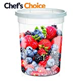Large Soup Storage Containers | 24 Large 32oz Leakproof Clear Plastic Storage Containers with Lids...
