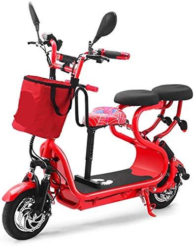 Woodtree Bicicleta eléctrica Plegable monopatín, Asiento Padre-Hijo varón Adulto y Hembra Mini...