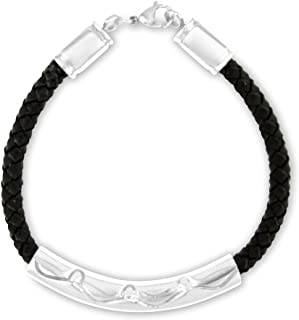 Heartfelt Braided Black and Silver Bracelet Cremation Jewelry Urn Memorial Keepsake for Ashes with Funnel Fill Kit