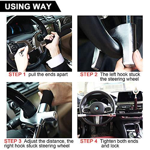 Tevlaphee Steering Wheel Lock For Cars,Wheel Lock,Vehicle Anti-Theft Lock,Adjustable Length Clamp Double Hook Universal Fit Emergency Hammer Window Breaker Self Defense Heavy Duty Secure