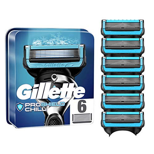 Gillette ProShield Chill Cuchillas de Afeitar Hombre, Paquete de 6 Cuchillas de Recambio