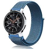 Th-some 22mm Cinturino Nylon per Samsung Gear S3, Cinturino in Elastico in Nylon per Galaxy Watch 46mm, Cinturino di Ricambio Sportivo Nylon per Galaxy Watch 46mm/Galaxy Watch Active/Gear S3(blu)