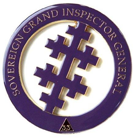 33rd Degree Salem Cross Round Masonic Auto Emblem - [Purple & Gold][3'' Diameter]