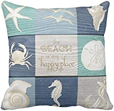 UOOPOO Beach Happy Place Blue Aqua Old Wood Sea Throw Pillow Case Square 24 x 24 Inches Soft Cotton Canvas Home Decorative Wedding Cushion Cover for Sofa and Bed One Side