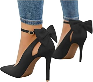Womens High Heels Pointed Toe Bowtie Back Ankle Buckle Strap Wedding Evening Party Dress Pumps Shoes