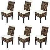 Mendler Set 6x sedia sala da pranzo M69 intreccio di banano gambe scure con cuscini
