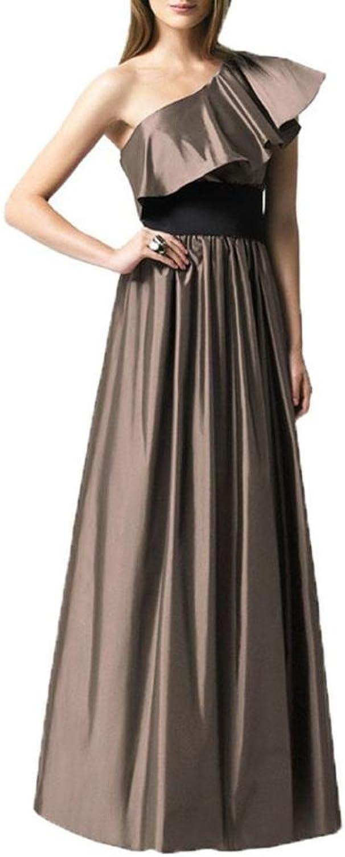 Dearta Women's ALine OneShoulder FloorLength Taffeta Dress