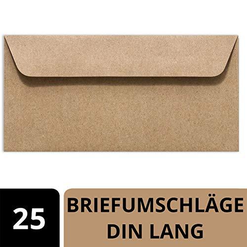25 Kraftpapier Umschläge DIN Lang - Braun ÖKO Vintage- Nassklebung 11,4 x 22,9 cm - Briefumschläge ohne Fenster aus Recycling Papier - Vintage Kuvert aus 100% naturbelassenem Material