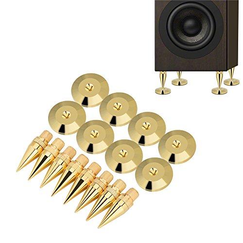 Archuu Kit di Punte per Altoparlanti in Rame, 6 x 36mm Amplificatore Giradischi Piedistallo Cono Piedi + Pad Base Piedini...