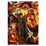 wzgsffs Japón Anime Vinatge Berserk Comic Fighting Póster De Película E Impresiones Arte De Pared Impresión En Lienzo para Sala De Estar-24X32 Pulgadas X 1 Sin Marco