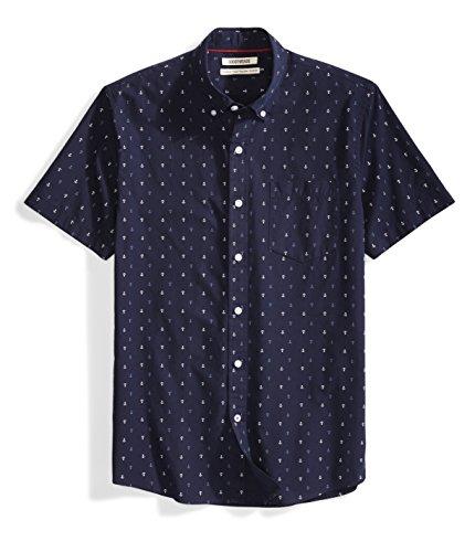 Amazon Brand - Goodthreads Men's Standard-Fit Short-Sleeve Printed Poplin Shirt, Navy Ground Anchor, Large