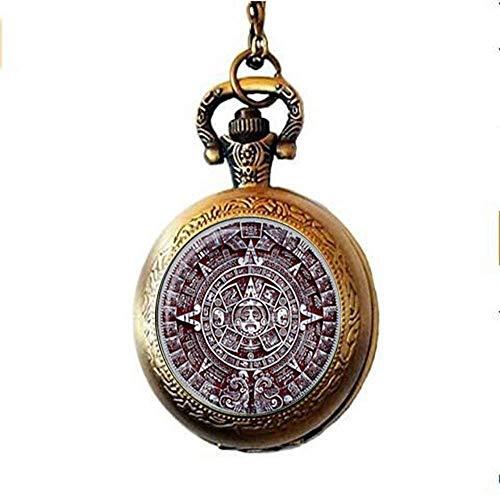 Collar de reloj de bolsillo con calendario azteca y piedra solar, calendario...