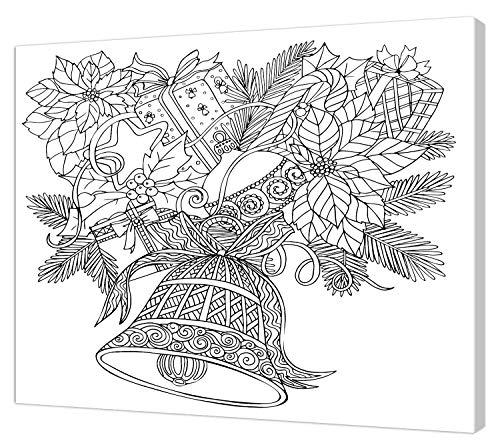 pintcolor 9090 châssis avec toile imprimée à colorier, Wood, blanc/noir, 40 x 30 x 3,5 cm
