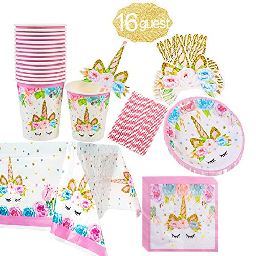 Unicorn Party Supply Set (Serves 16 Guests)