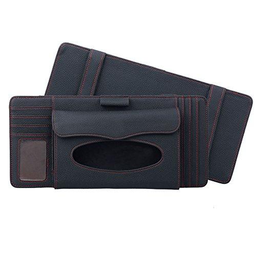 3 in 1 Tissue Box Feines Mikrofaser-Leder Sonnenblenden-organizer, Auto Sonnenblende Tasche Auto CD Organizer, Tissue Box, Stifthalter, Kartenhalter, von DUBENS® (Schwarz)