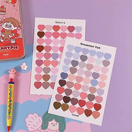 1 Sheet Cute Colorful Heart Sticker Kawaii Round Decorative Sticker DIY Sticker Diary Scrapbooking Label Stationery