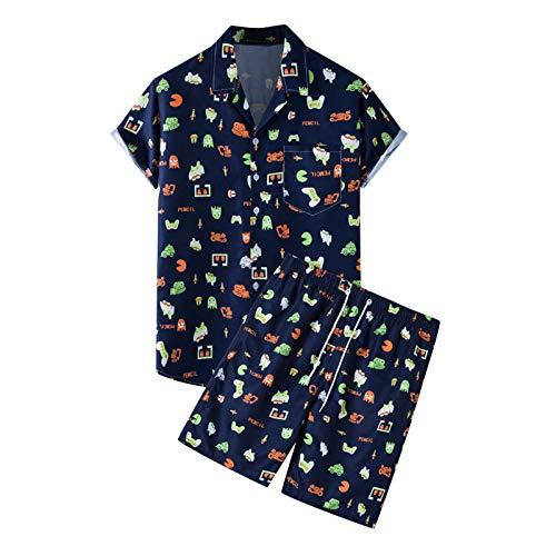 Conjunto de Camiseta de Verano para Hombre,Bolsillos,De un solo pecho,Cuello en V,Cintura elástica,Impresión,Pijama Movimiento Casual
