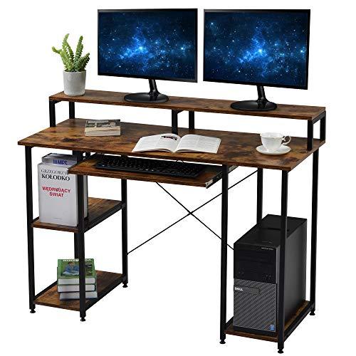 Computertische mit Holzregalen/Tastaturablage/Monitorständer, PC Laptop Tisch, Arbeitstisch, Bürotisch für das Home Office Industriestil
