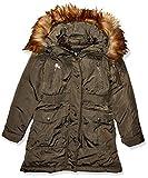 DKNY Girls' Toddler Parka Jacket, Cinched Waist Olive/Natural, 3T