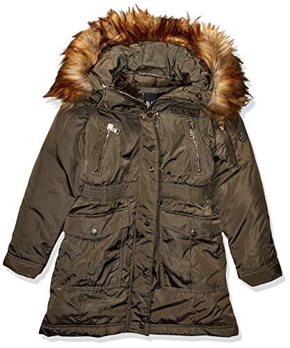 DKNY Mädchen Parka Jacket Daunenalternative, Mantel, Eingeschnittene Taille Oliv/Natur, 6X