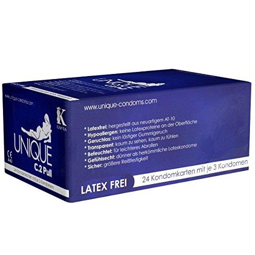 KAMYRA Unique C.2 PULL Condom Card, blau - latexfreie Kondome, mit Abziehbändchen für schnelles Abrollen - auch mit ölhaltigen Gleitmitteln verwendbar, 24 x 3 Stück