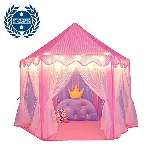 MoMi Princess Castle Kinderzelt Spiel Zelt Hexagonal Girl rosa Zelt und Starlight Toys Kinder Indoor Game (Pink)