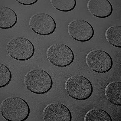 """8' 2"""" Wide Coin Plate Pattern RV Flooring Black- 20 Foot Section"""