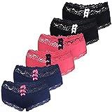 LOREZA ® 6er Set Damen Panties Unterwäsche mit Spitze Baumwolle (38, Modell 1-6 STÜCK)