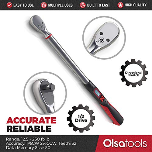 Olsa Tools Digital Torque Wrench, 1/2-Inch Drive (12.5-250 ft-lb Torque Range) | ±1% CW and ±2% CCW Torque Accuracy | Premium Ratcheting Adjustable Torque Wrench | Professional Grade